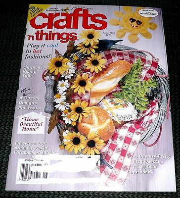 Crafts n Things Magazine Aug 1993 Tissue paper cover Picnic Tote Victorian Clock