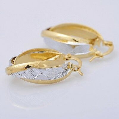 Pretty 14K Solid Yellow Gold Filled Hoop Style Womens Jewelry Earrings E038