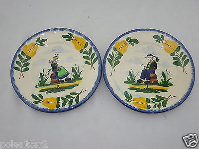 "Desveres France Hand Painted Pottery Breton Man & Woman 7 1/2"" Plates Set of 2"