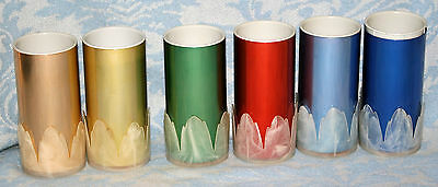 Vintage Mid Century Modern 1950's 6 Colored Aluminum Tumblers With Tulip Holders