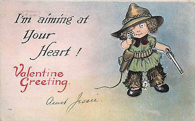 Lot of 2 Early/Vintage Valentine Cowgirls with Guns Postcards #42583