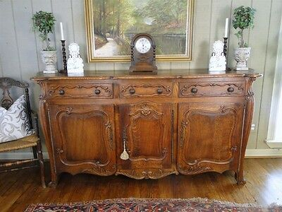 Antique Country French Buffet Sideboard Server Carved Shells Oak Keys Old