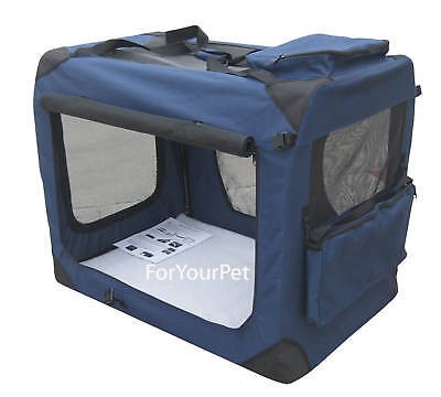 """Navy Blue EliteField 42"""" 3-Door Soft Folding Dog Crate Cage Kennel"""
