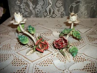 VINTAGE CHIC 30s CHIPPY ITALIAN TOLE ROSES CANDLE HOLDERS SHABBY COTTAGE
