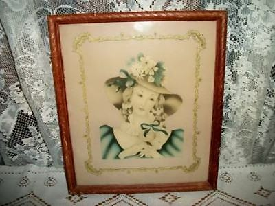 VINTAGE 20s CHIC FRENCH LADY PRINT CHIPPY MUTED OLD COLORS SHABBY COTTAGE Lg