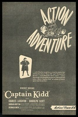 1945 Charles Laughton photo Captain Kidd movie vintage print trade ad