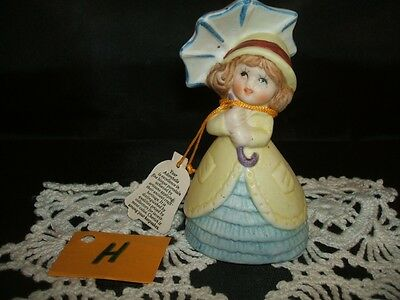 ADORABELLES Girl with Umbrella BISQUE FIGURINE BELL New Old Stock H