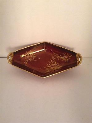 ROUGE ROGALE CARLTON WARE BOWL Red and Gold VINTAGE England WDF13
