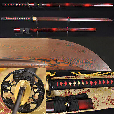 HIGH QUALITY JAPANESE SAMURAI NINJA SWORD Black&Red Folded Steel FULL TANG Blade