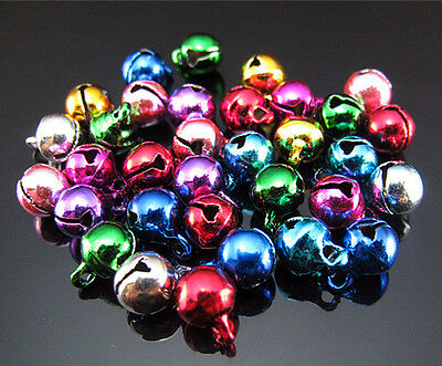 Free Lot 50pcs Mixed color multipurpose Copper round bell Findings Pendant 6mm