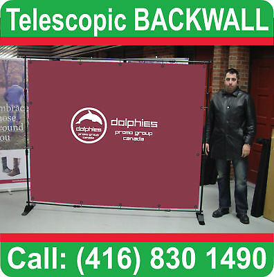 New ADJUSTABLE Telescopic POP UP Booth BACKWALL Display Banner Stand Backdrop