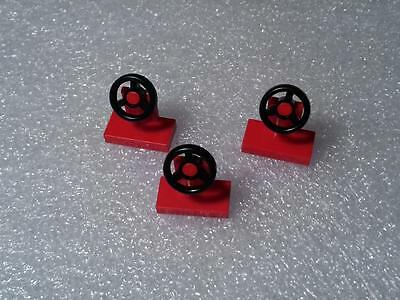 LEGO VEHICLE PARTS Steering Wheel Red 1x2 car truck city town lot of 3pcs