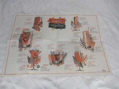Old Vtg BARTENDER COCKTAIL SUGGESTIONS Place Mat Drink Recipes Guide Barware