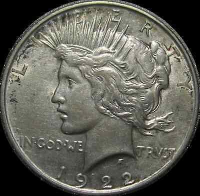 1922-D PEACE SILVER DOLLAR - FIRST YEAR DENVER ISSUE - OLD 90% SILVER