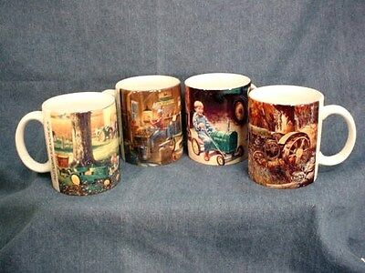 JOHN DEERE CHARLES FREITAG MUG SET - 4 DIFFERENT OF HIS TRACTOR PAINTINGS - NEW