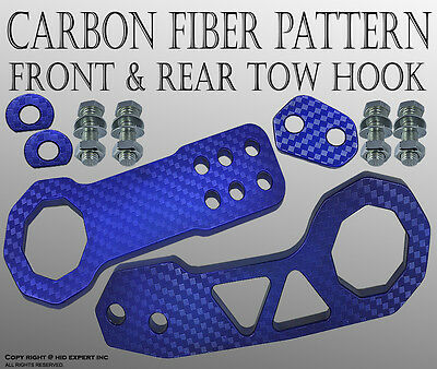 JDM FORD 1SET High Strength CNC Billet Kit Front and Rear TOW HOOK BLUE DTYU6645
