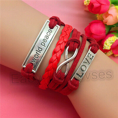 NEW Hot Fashion Jewelry World Peace Love Leather Cute Bracelet Silver Red C181