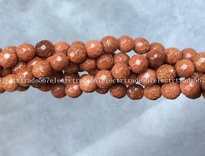 """EL-2315 Pretty 6mm Faceted Golden Sand Gemstone Loose Beads 15"""""""