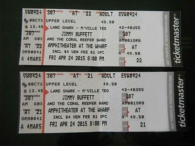 JIMMY BUFFETT Tickets (2 Together) The Wharf Orange Beach AL  4/24/15   Sold Out