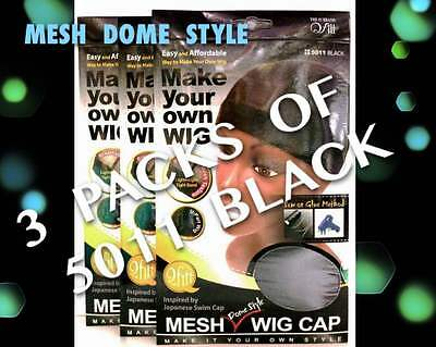 Lots Of 3 Qfitt Mesh Dome Style Wig Making Cap Mesh & Tight Band # 5011Black