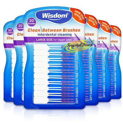 6x Wisdom PURPLE Clean Between LARGE Rubber 20 Interdental Floss Plaque Brushes