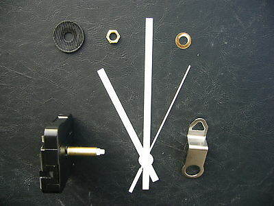 CLOCK MECHANISM QUARTZ EXTRA LONG SWEEP SPINDLE. 130mm WHITE BATON HANDS