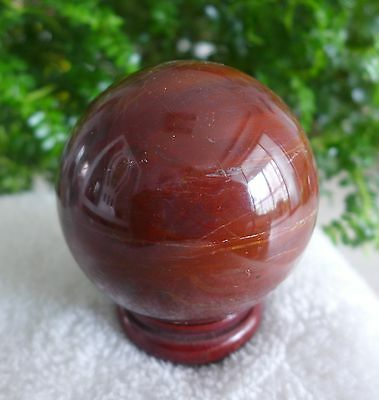 """3.03"""" Natural Polished Red Petrifild Wood fossil Sphere Ball Madagascar+stand 9#"""