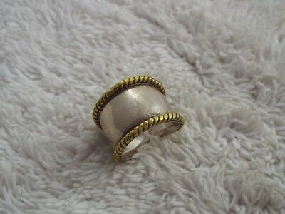 Sterling Silver Brass Rimmed Ring - Size 8 (D14)