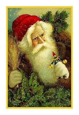 Victorian Father Christmas Santa Claus Red Cap #80 Counted Cross Stitch Chart