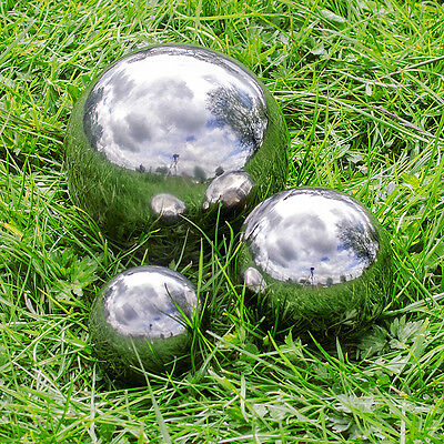 Set of 3 Silver Mirror Garden Spheres Stainless Steel Gazing Balls 9, 13 & 18cm