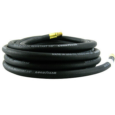 "Goodyear 1/4"" NPT Fitting BLACK Rubber Air Hose 3/8"" x 25 Ft USA MADE Air Hoses"