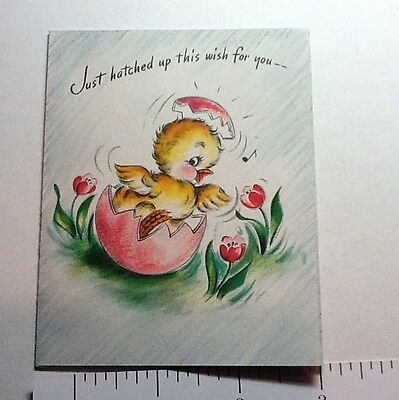 #B612- Vintage Easter Greeting Card Cute Yellow Chick Inside Cracked Pink Egg