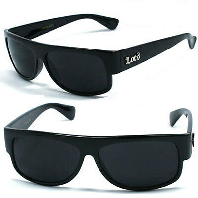 Locs Mens Gangster Sports Sunglasses Free Pouch - Black - LC28