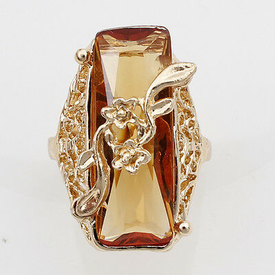 14K Gold Filled Women Topaz Austrian Crystal Size 9 Rectangle Ring Jewelry F874