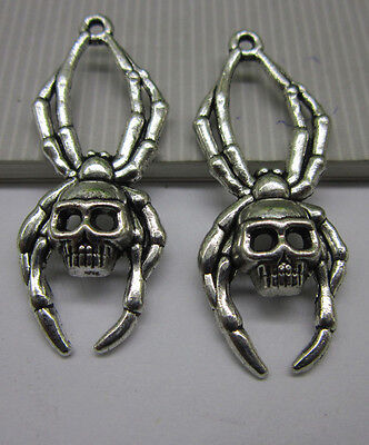 wholesale 6pcs Retro Style Tibet silver spider skull fashion Charms Pendant