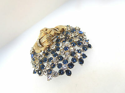 Art Deco Signed Boucher Swarovski Crystals Clear & London Blue Fur Clip