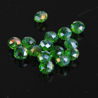 DIY Jewelry Faceted 30pcs grass green ab #5040 6x8mm Roundelle Crystal Beads!