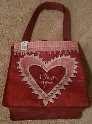 """Love Gift Bag """"i love you"""" Heart Red Pink White Reusable Shopping Tote"""