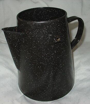 Vintage Black & White Speckled Enamelware Coffee Pot - No Lid & Handle Missing
