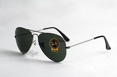 Ray Ban Aviator RB 3025 W0879 Gunmetal Frame G15 Green Lens Large 58mm Sunglasse
