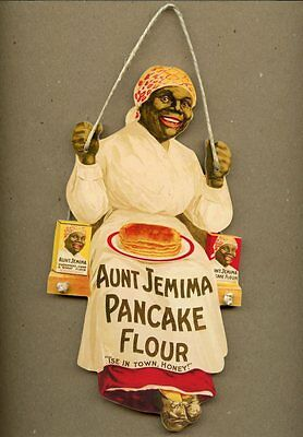 AUNT JEMIMA PANCAKE FLOUR BAKING SYRUP WOOD WALL PLAQUE KITCHEN VINTAGE SIGN