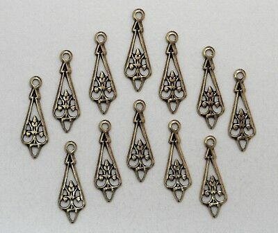 #3415 ANTIQUED GOLD OPEN FILIGREE TEARDROP W/TOP HANG RING - 12 Pc Lot