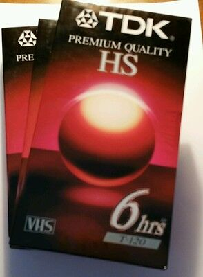 Lot of 3 New TDK Premium Quality HS T-120 Blank VHS (6-Hour) Tapes Sealed