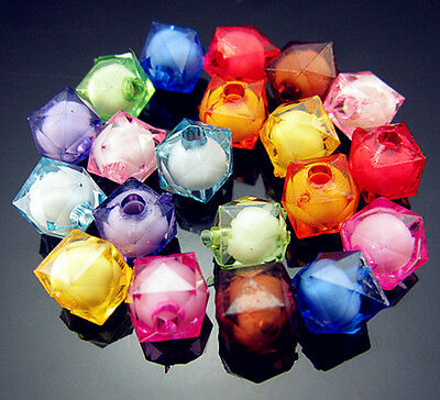 Free TOP 100PCS Mixed color Cube Cut Acrylic findings spacer Loose beads 8mm