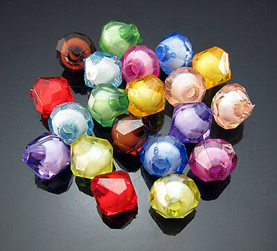 Free TOP 100PCS Mixed color Acrylic Biconical spacer Findings Loose beads 8mm