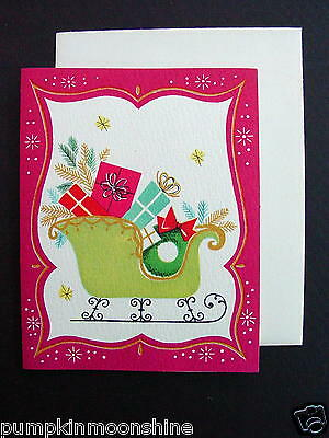 #E497- Vintage Unused Norcross Xmas Greeting Card Lime Green Sleigh Pink Border
