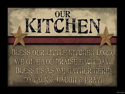 Primitive Wood Sign BLESS OUR LITTLE KITCHEN LORD Country Home Wall Decor