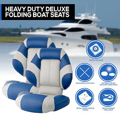 New 2016 Boat Seats Deluxe  Boat Folding  w/ Swivels All Weather