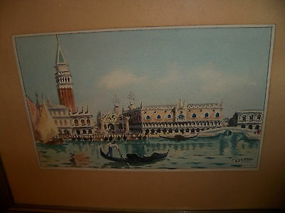 BEAUTIFUL WATERCOLOR PAINTING VENICE ITALY SIGNED CRISTIN