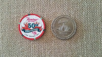 Flamingo Hilton 50th Anniversary $5 Chip Bugsy Siegel & $1 Gaming Token RARE